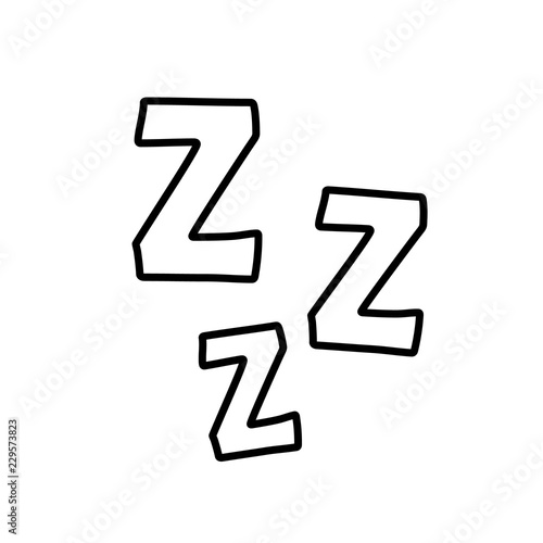 zzz sleep icon symbol isolated on white background. Vector