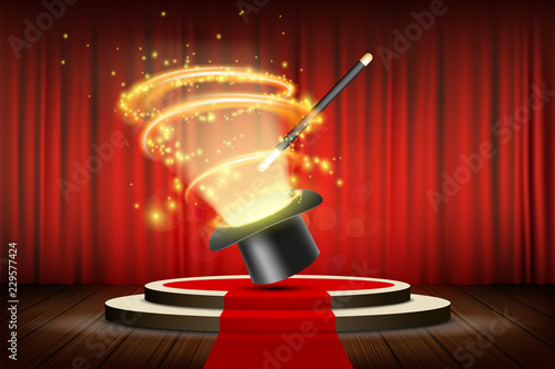 Magic wand and hat on stage with curtain Fototapete
