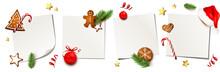 Zettel Set Mit Weihnachsschmuck - Lebkuchen, Nikolaus Mütze, Weihnachtskugel, Tannenzweige, Zuckerstange, Sterne, Zimtsterne