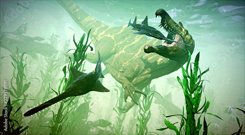 Fototapeta A 3D rendering of Spinosaurus attempting to catch its next meal.
