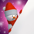 3d snowman looking down, holding Christmas banner, pink background, blank space for text