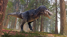 A 3D Rendering Of Tyrannosaurus Rex Charging Towards An Alamosaurus In A Prehistoric Forest.