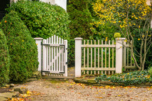 Vintage Garden Gate With White...