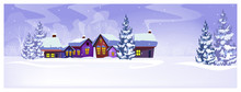 Country Scene With Houses And Fir-trees Vector Illustration. Winter Day And Snowfall. Country Scene Concept. For Websites, Wallpapers, Posters Or Banners.