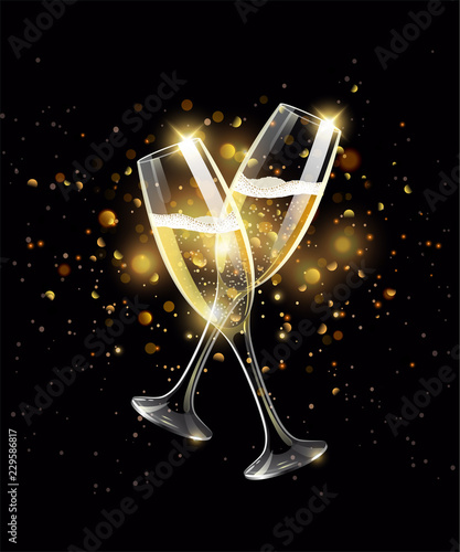 Sparkling glasses of champagne on black background, gold bokeh effect, realistic Fototapeta