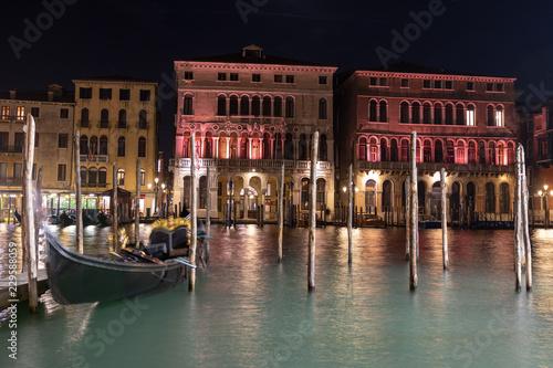 Fotografie, Obraz  Canal Grande At Night, Venice Italy
