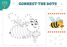 Connect The Dots Kids Game Vector Illustration. Preschool Children Education Activity