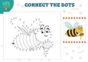 Connect the dots kids game vector illustration. Preschool children education activity