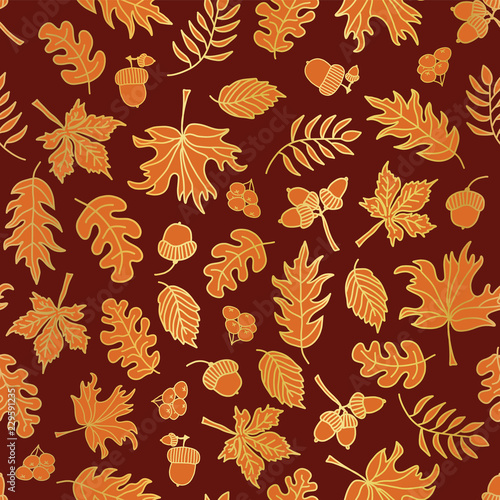 Acorn, Oak, Maple Gold Foil Autumn Leaves Seamless Vector Background.  Golden And Orange Abstract Fall Leaf Shapes On Red Background. Elegant  Pattern For Thanksgiving, Digital Papers, Party, Invitation - Buy This Stock