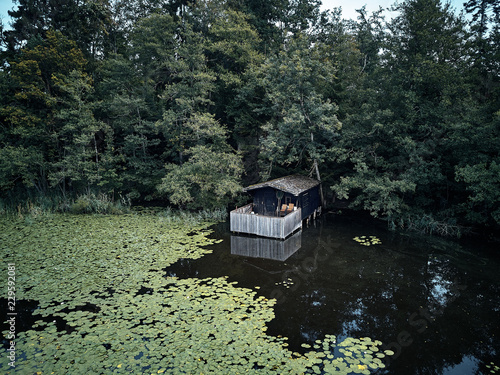 Fotobehang Olijf small wooden house between trees and a lake