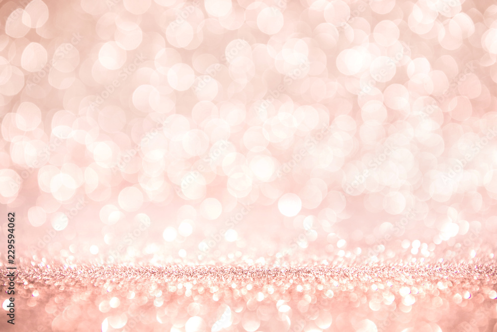 Fototapeta Rose gold and pink glitter, Defocused abstract holidays lights on background.