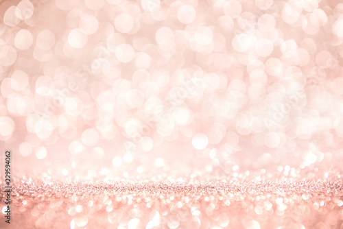 Foto auf Gartenposter Roses Rose gold and pink glitter, Defocused abstract holidays lights on background.