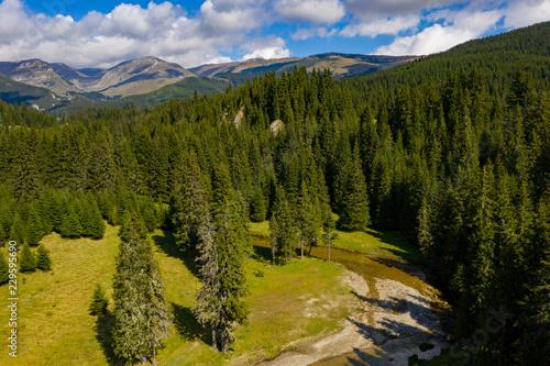Fototapety, obrazy: Carpathian Mountains landscape on a sunny day near the Bolboci Lake, Bucegi Mountains