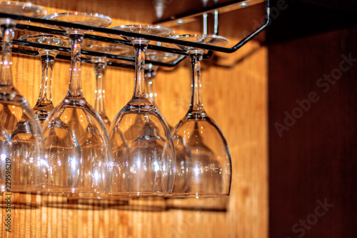 Empty glasses, glasses and glasses on a tray