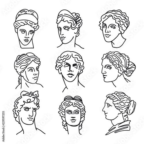 Venus, the ancient Greek goddess of love and god Apollo, vector sketch illustrat Wallpaper Mural