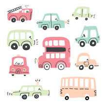 Big Set Of Different Hand Drawn Toy Cars