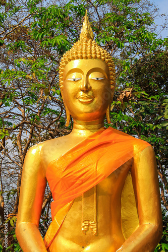 Head of the Golden Buddha in a Thai Buddhist temple, a religious symbol in Thailand, Pattaya