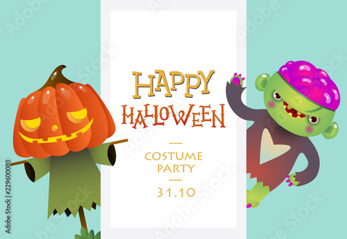 Creative Lettering With Cartoon Characters Of Frankenstein And Straw Man Can Be Used For Greeting Cards Invitations Banners