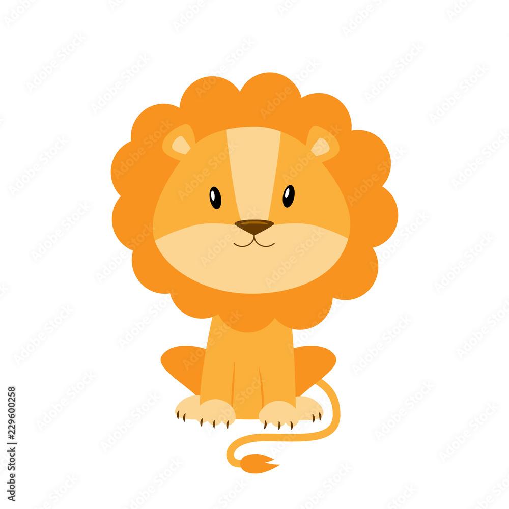 Fototapeta Cute cartoon lion vector illustration isolated on white backgrou