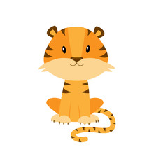 Cute Cartoon Tiger Vector Illustration Isolated On White Backgro