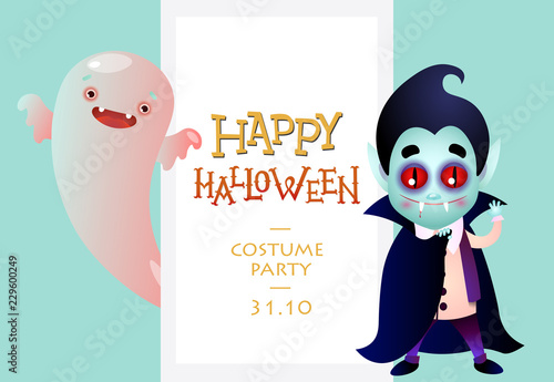 Happy Halloween Invitations With Funny Cartoon Characters Creative Lettering Cute Boogie And Dracula Can Be Used For Greeting Cards