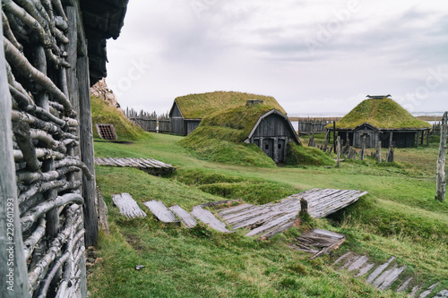 Foto op Canvas Pistache Traditional antique Viking village. Old wooden houses near Vestrahorn mountains on the Stokksnes Peninsula, Hofn, Iceland. Popular tourist attraction.