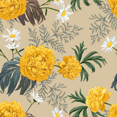 Fototapeta Peonie Yellow peonies, daisies, herbs and leaves. Seamless pattern on light brown background.