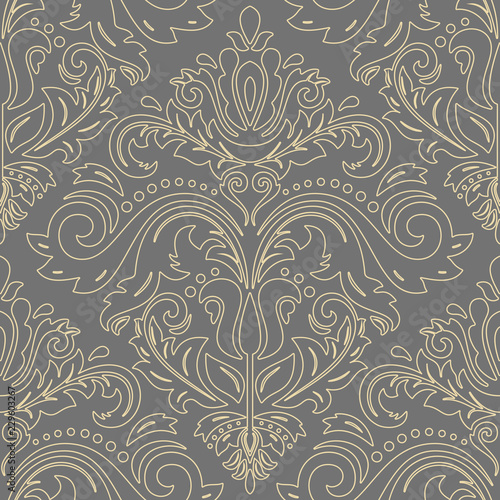 Tuinposter Retro Orient classic pattern with golden outlines. Seamless abstract background with vintage elements. Orient background