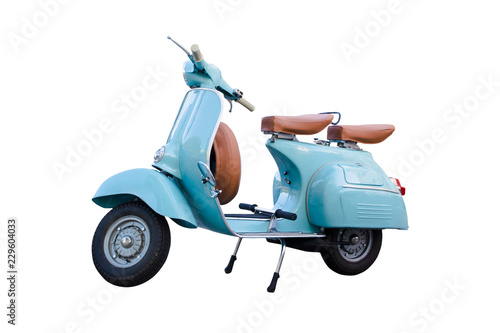 Garden Poster Scooter Light blue vintage motorcycle scooter isolated in white background. Adorable old scooter in perfect condition.