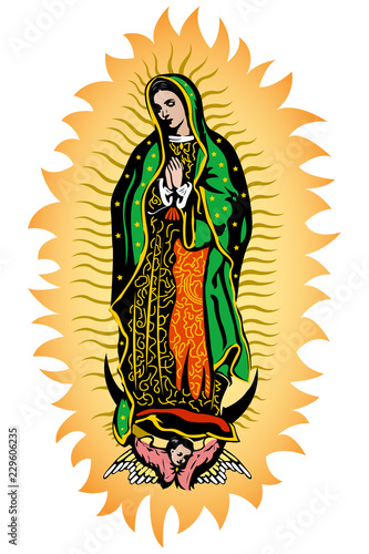 Vászonkép  Virgin of Guadalupe, Mexican Virgen de Guadalupe color vector illustration