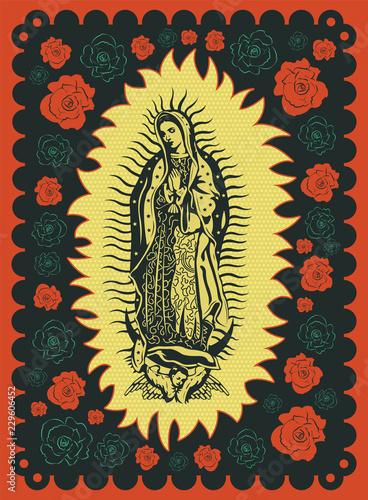Valokuva  Virgin of Guadalupe vintage silk screen style poster illustration