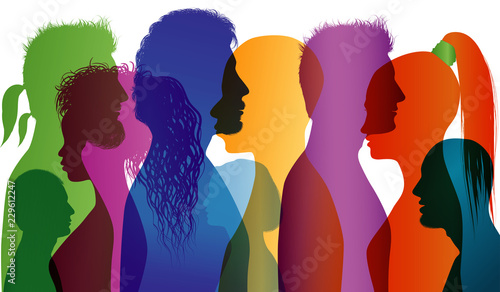 Obraz Multi-ethnic people. Group of people of different nationalities. Colored profile silhouette. Multiple exposure - fototapety do salonu