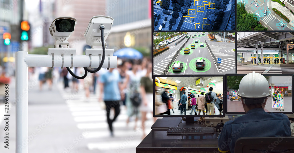 Fototapeta Machine Learning analytics identify person technology in smart city , Artificial intelligence ,Big data , iot concept. Engineer monitoring cctv , security camera and face recognition people  traffic.
