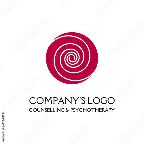 Fotografía  Logo - two thin spirals in a circle - a flower bud - a symbol of interaction, growth, development, enlightenment, beauty and wisdom