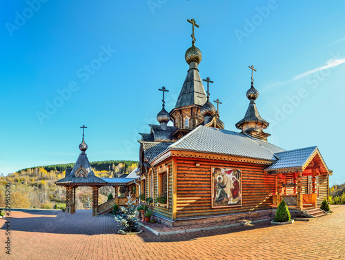Fototapety, obrazy: Christian wooden Temple of Holy Martyr John Warrior in Novokuznetsk, Russia