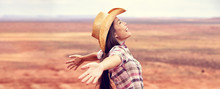 Cowgirl American Woman Happy W...