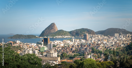 Aerial view of dowtown Rio de Janeiro and Sugar Loaf Mountain from Santa Teresa Hill - Rio de Janeiro, Brazil