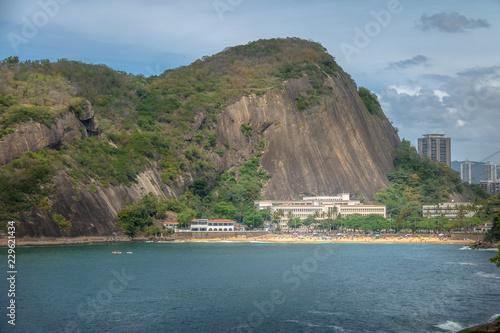 Aerial view of Praia Vermelha Beach from Urca Mountain - Rio de Janeiro, Brazil