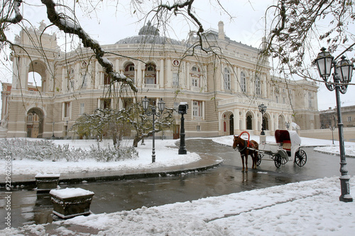 In de dag Theater Odessa, Ukraine - December 29, 2014: Natural disasters, snow storm with heavy snow paralyzed the city. Kolaps. Snow covered the cyclone Europe, December 29, 2014 in Odessa, Ukraine.