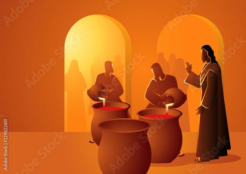 Carta da parati Jesus Turns Water Into Wine
