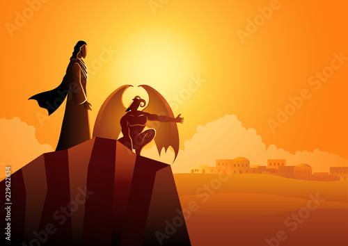 Satan tempts Jesus in the wilderness Fototapeta