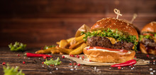 Delicious Hamburger With Fries...