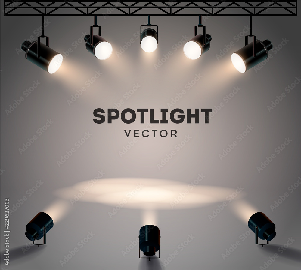 Fototapeta Spotlights with bright white light shining stage vector set. Illuminated effect form projector, illustration of projector for studio illumination