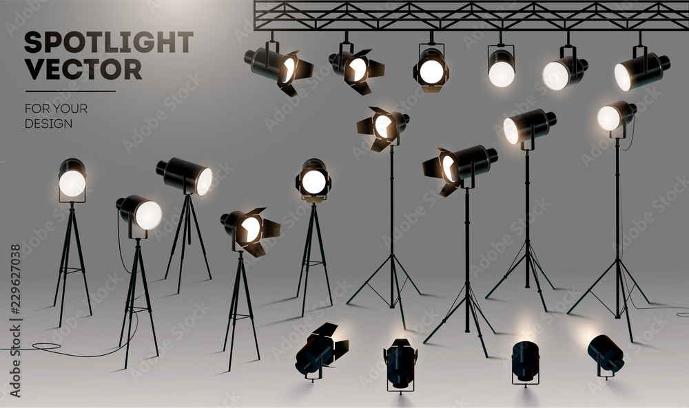 Fototapety, obrazy: Spotlights realistic transparent background for show contest or interview vector illustration