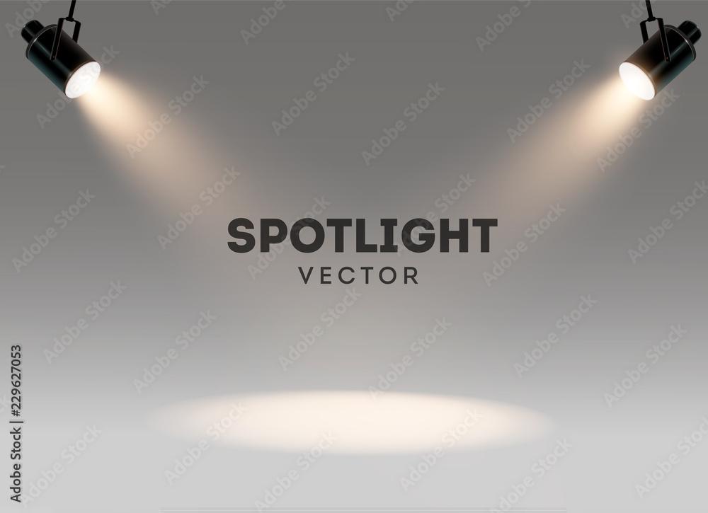 Fototapeta Spotlights with bright white light shining stage vector set. Illuminated effect form projector, illustration of projector for studio illumination