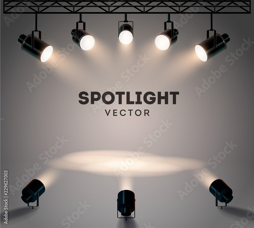Fototapeta Spotlights with bright white light shining stage vector set. Illuminated effect form projector, illustration of projector for studio illumination obraz
