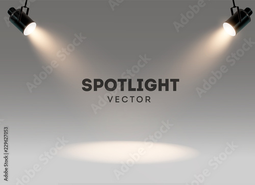 Fotobehang Licht, schaduw Spotlights with bright white light shining stage vector set. Illuminated effect form projector, illustration of projector for studio illumination