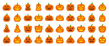 Jack O Lantern Simple Flat Color Icons Vector Set