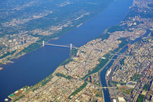 Aerial View Of The George Washington Bridge Over The Hudson River Between New York And New Jersey
