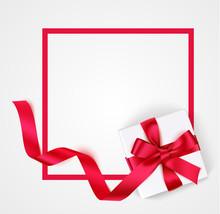 Red Frame With White Gift Box, Red Bow And Long Ribbon For Your Design. Vector Empty Sale Design Template
